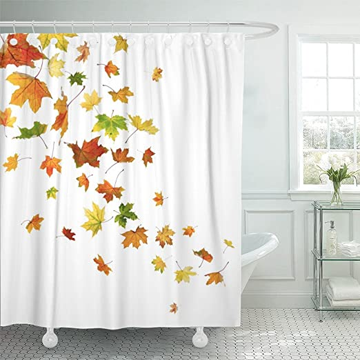 Emvency Fabric Shower Curtain Curtains with Hooks Brown Thanksgiving Corner with Pumpkins and Autumn Leaves Colorful Border Fall Leaf Gourd November Season 66X72 Waterproof Decorative Bathroom
