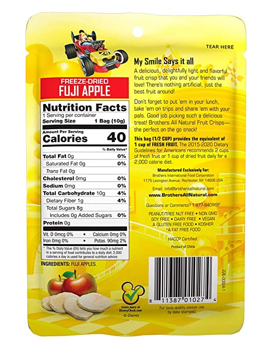 Amazon.com: Brothers-ALL-Natural Mickey Mouse Apple Crisps, 0.35-Ounce  Pouches (2 Packs of 12 bags each)