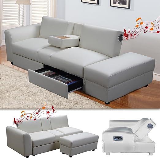 Di-Nesh24 Kin Función sofá con Bluetooth Blanco Dormir sofá sofá ...