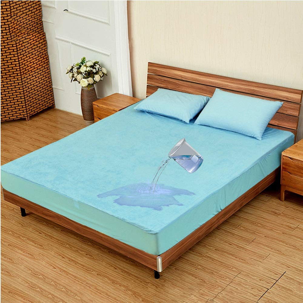 Zhengtufuzhuang Waterproof Bedspread/Bamboo Fiber Towel Cloth/Anti-Mite Mattress Protective Sleeve Multi-Specification Moisture Absorption Breathable Blue Reliable Quality (Size : 120200) by Zhengtufuzhuang