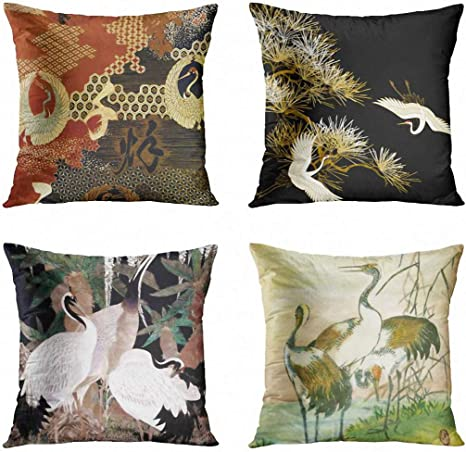 Artsocket Set Of 4 Throw Pillow Covers Asian Dancing Oriental Cranes Japanese Writing Vintage Geometric Pattern Black Gold White Decorative Pillow Cases Home Decor Square 18x18 Inches Pillowcases Home Kitchen