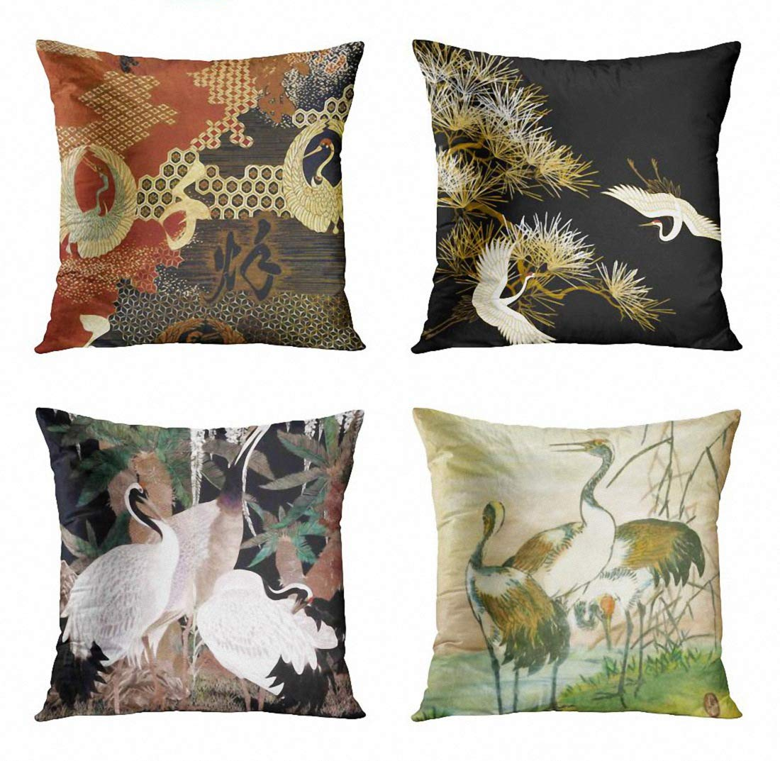 ArtSocket Set of 4 Throw Pillow Covers Asian Dancing Oriental Cranes Japanese Writing Vintage Geometric Pattern Black Gold White Decorative Pillow Cases Home Decor Square 18x18 Inches Pillowcases