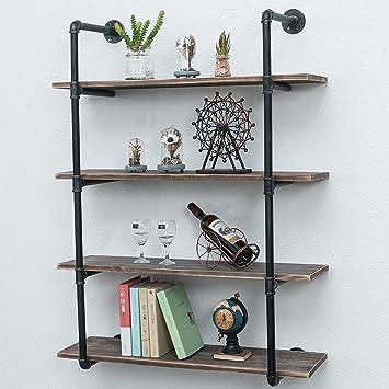 Industrial Pipe Shelving Rustic Iron Pipe Shelf Wall Mount Bookshelf Shelving