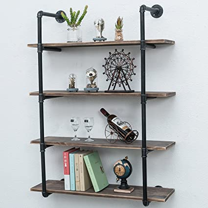 Wall furniture shelves Art Deco Wall Image Unavailable Amazoncom Amazoncom Industrial Pipe Shelves With Wood 4tiersrustic Wall
