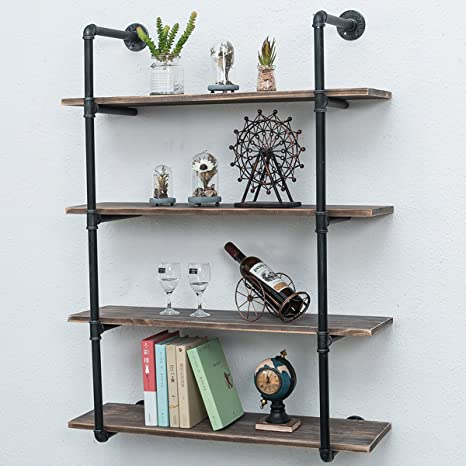 Industrial Pipe Shelves With Wood 4 Tiers Rustic Wall Mount Shelf 36 2in Metal Hung Bracket Bookshelf Diy Storage Shelving Floating Shelves