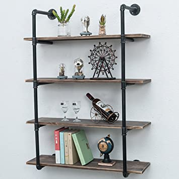 Amazon Com Industrial Pipe Shelves With Wood 4 Tiers Rustic Wall