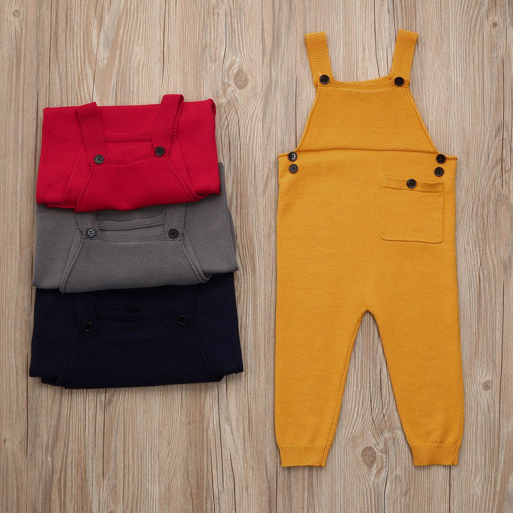 Lisin Toddler Kids Baby Boys Girls Knitted Overalls Strap Rompers Jumpsuit Outfits Red