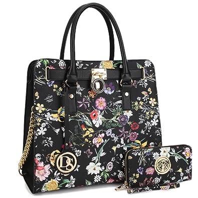0f7df78fddeb Women's Fashion Handbag Top Belted Padlock Satchel Bag Top Handle Shoulder  Bag Purses w/Matching Wallet