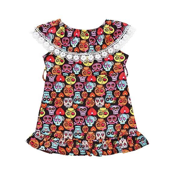 Felz Vestidos Niña Vestido Estampado De Calavera De Dibujos