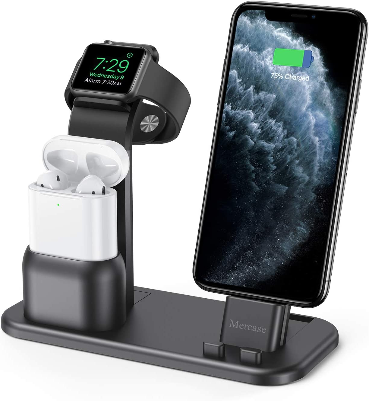 Mercase Apple Charging Station,3 in 1 Aluminum Charging Dock for iPhone Apple Watch and AirPods,Compatible with AirPods,iWatch Series SE/6/5/4/3/2/1,iPhone 11/ Xs/X Max/XR/X(Space Grey+ USB Cable)