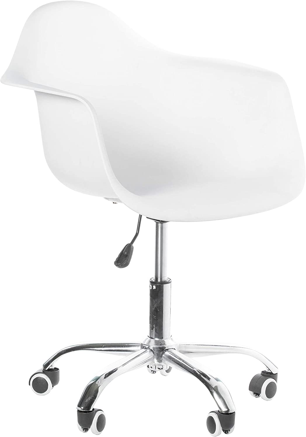 Bold Tones Mid-Century Modern Style Swivel Plastic Shell Molded Office Task Chair with Rolling Wheels, White, 1