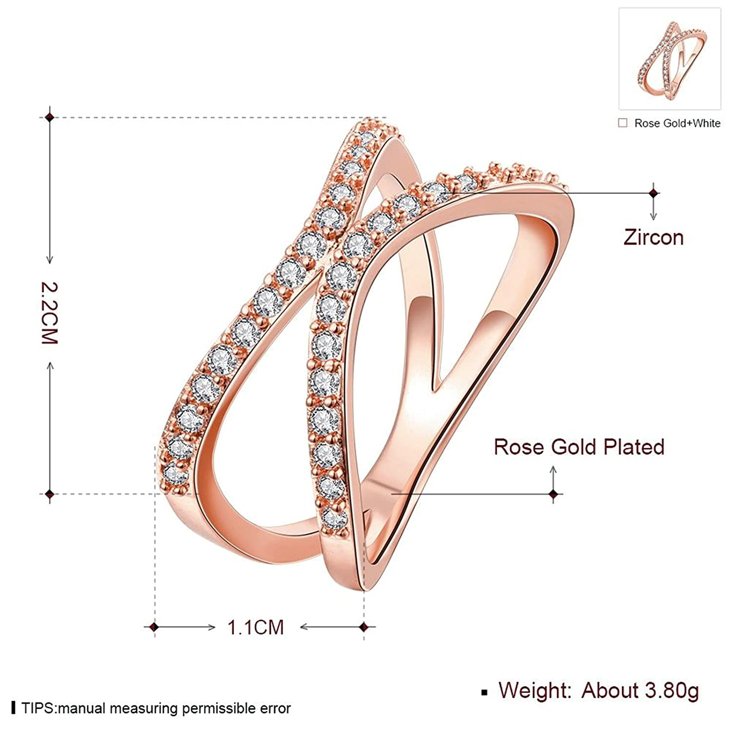 Gnzoe Jewelry 18K Rose Gold Plated Women Rings Design Chic Geometry Inlaid CZ Size 8