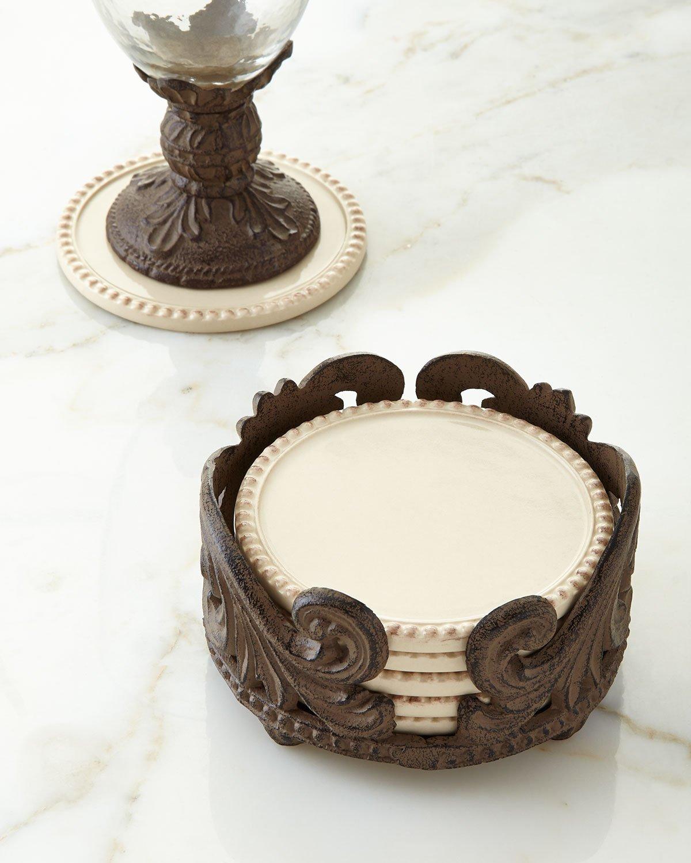 Six Acanthus Coasters, ivory
