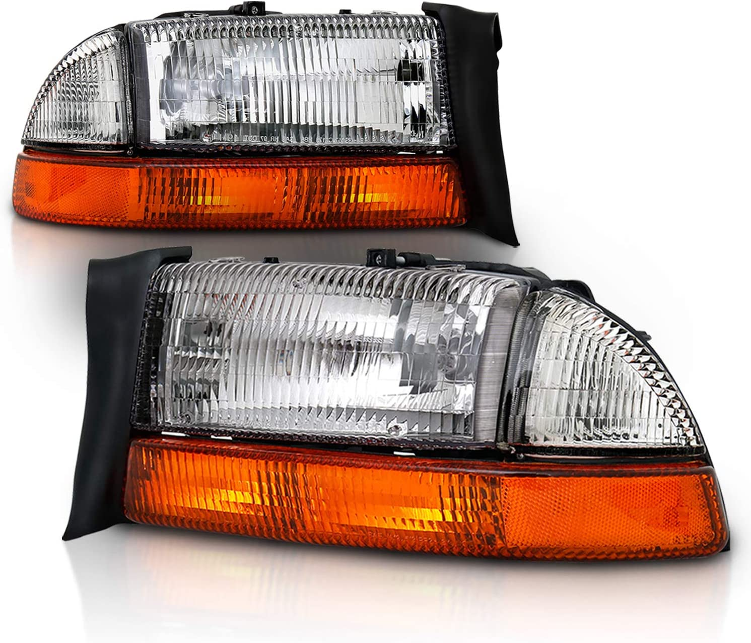 AmeriLite Corner Side Marker Light Clear Amber Pair for Dodge Dakota Passenger and Driver Side