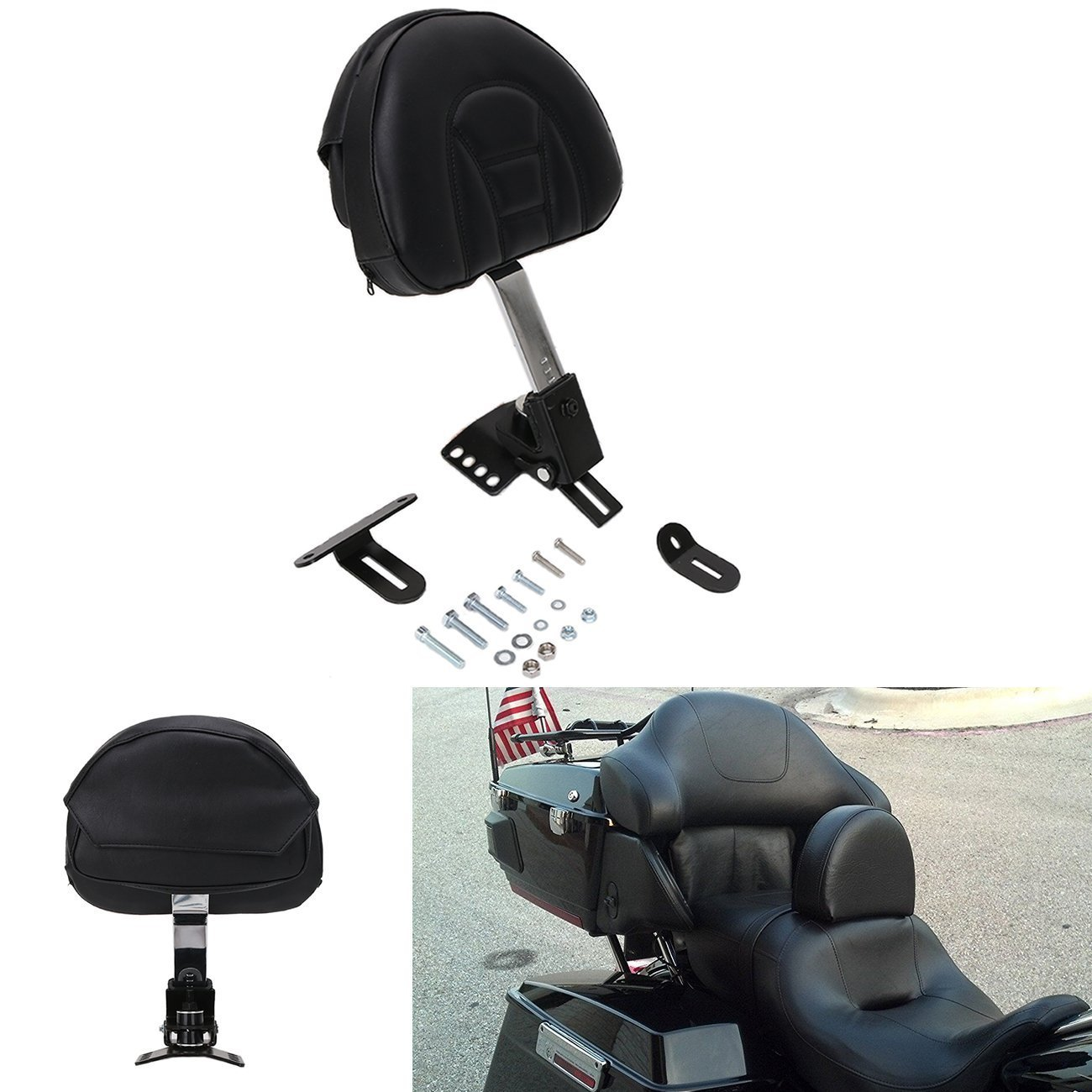 YC Motorcycle Adjustable Plug-In Rider Driver Backrest Leather Pad w/ Pocket Chrome For 1997-2017 Harley Davidson Touring Models ( Slotted Seat ) YAN CHEN