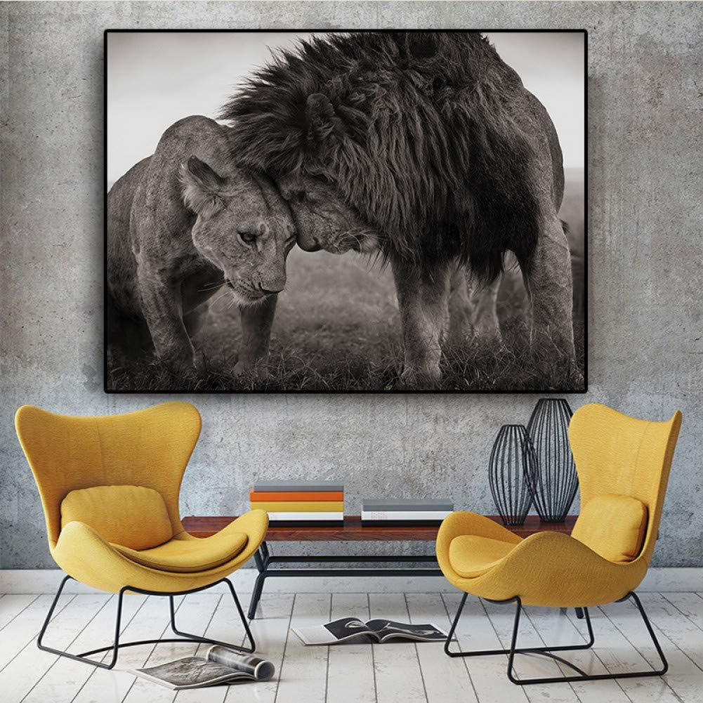 MMLUCK Decorative Paintings Lions Head to Head Black and White Canvas Art Painting Posters and Prints Wall Art Picture for Living Room-40x60cm