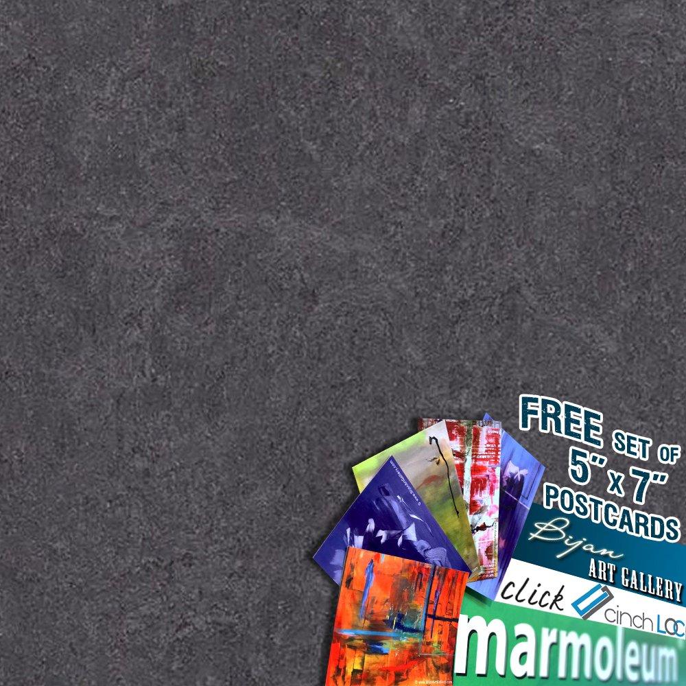 MARMOLEUM CLICK Cinch Loc 12''x12'' Tiles 1 BOX BUNDLED with Exclusive Bijan Art Gallery Postcards as a FREE Gift. [7panels/6.78 sq ft/Box] 333872 volcanic ash