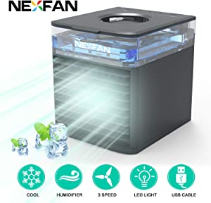 GOOLY NexFan Air Cooler Portable - Personal Air Conditioner 4 in 1 Evaporative Cooling Fan USB Charge With 7 Colors LED Light, Sterilizer, Humidifier with 3 Speeds for Home Room Office(Black)