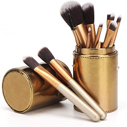 12 unids Maquillaje Pinceles Set, Segbeauty Cosméticos Portátiles Fibras Sintéticas Brochas Kit con Estuche de Viaje para Fundación Corrector de Ojos Cara Polvo Labial: Amazon.es: Belleza
