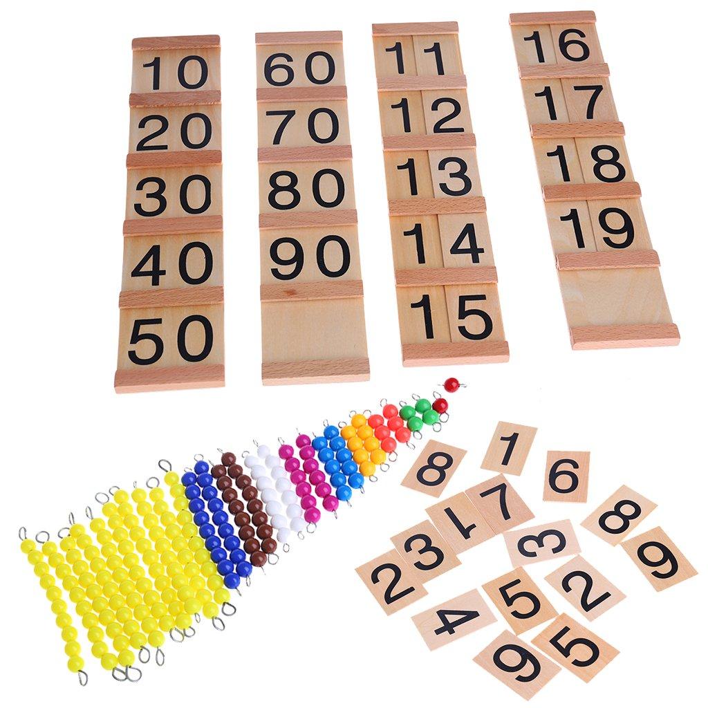 Misha Educational Math Toys Montessori Math Material, Plastic Beads String Wooden Number Blocks, Preschool Learning Toys for Toddler Kids Boys Girls