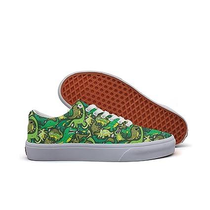 c36d03a96f5be Amazon.com: Cute Dinosaur Costume Green Women's Casual Shoes ...