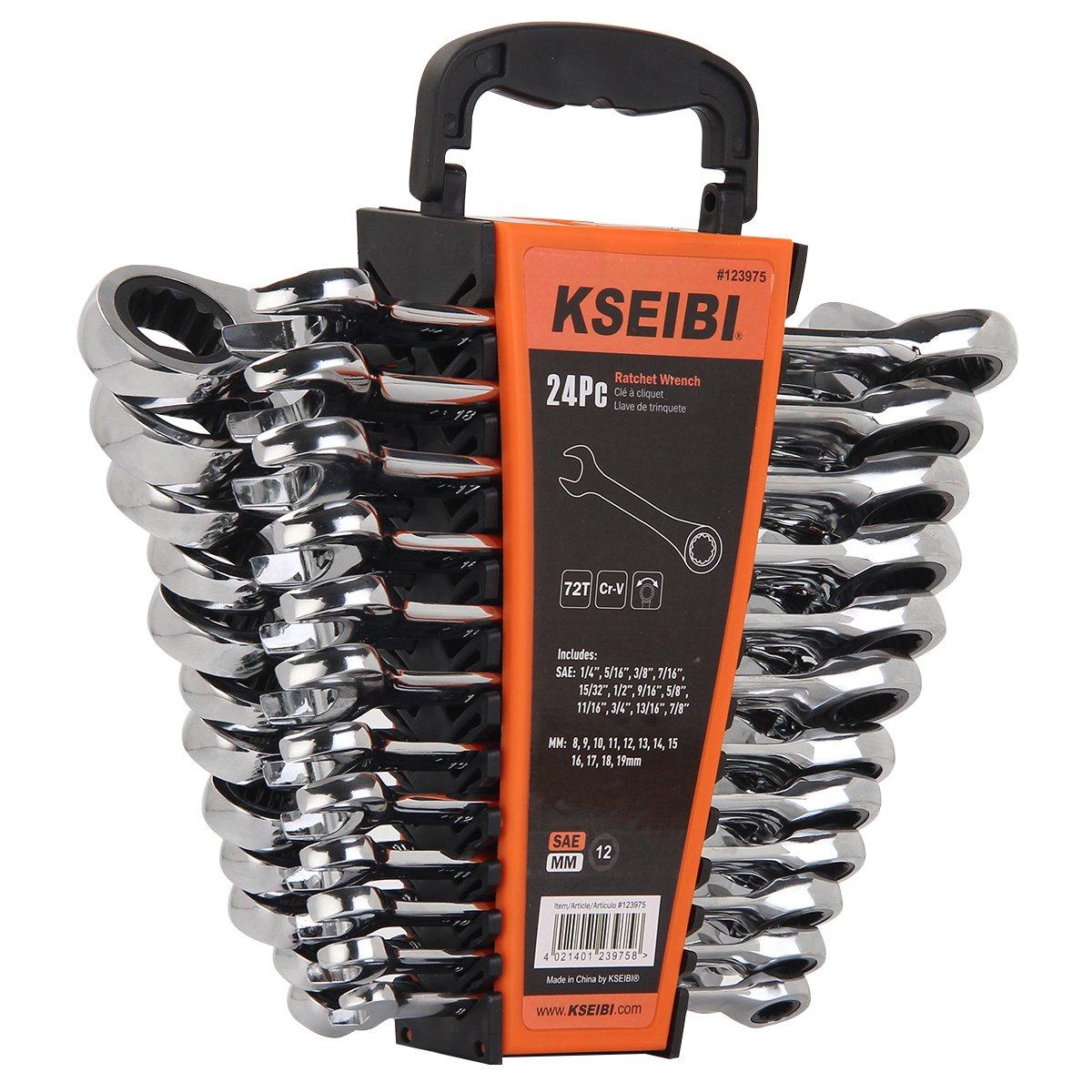 KSEIBI 123975 24 Piece Ratcheting Combination Wrench Set - Chrome Vanadium Steel Ratchet Wrenches Kit with Storage Keeper SAE & Metric by KSEIBI