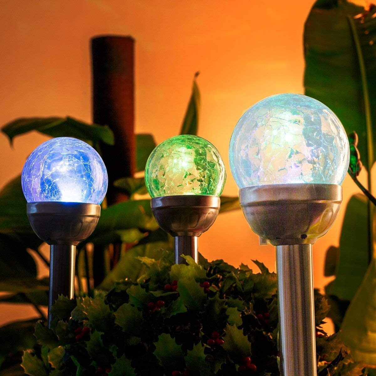 GIGALUMI Solar Lights Outdoor, Cracked Glass Ball Dual LED Garden Lights, Landscape Pathway Lights for Path, Patio, Yard-Color Changing and White-3 Pack Renewed