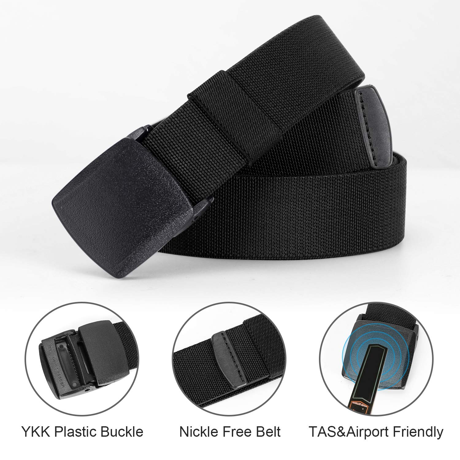 Whippy 2 Pack Elastic Stretch Belt for Men, Nickle Free Hiking Nylon Belt in YKK Buckle up to 51in