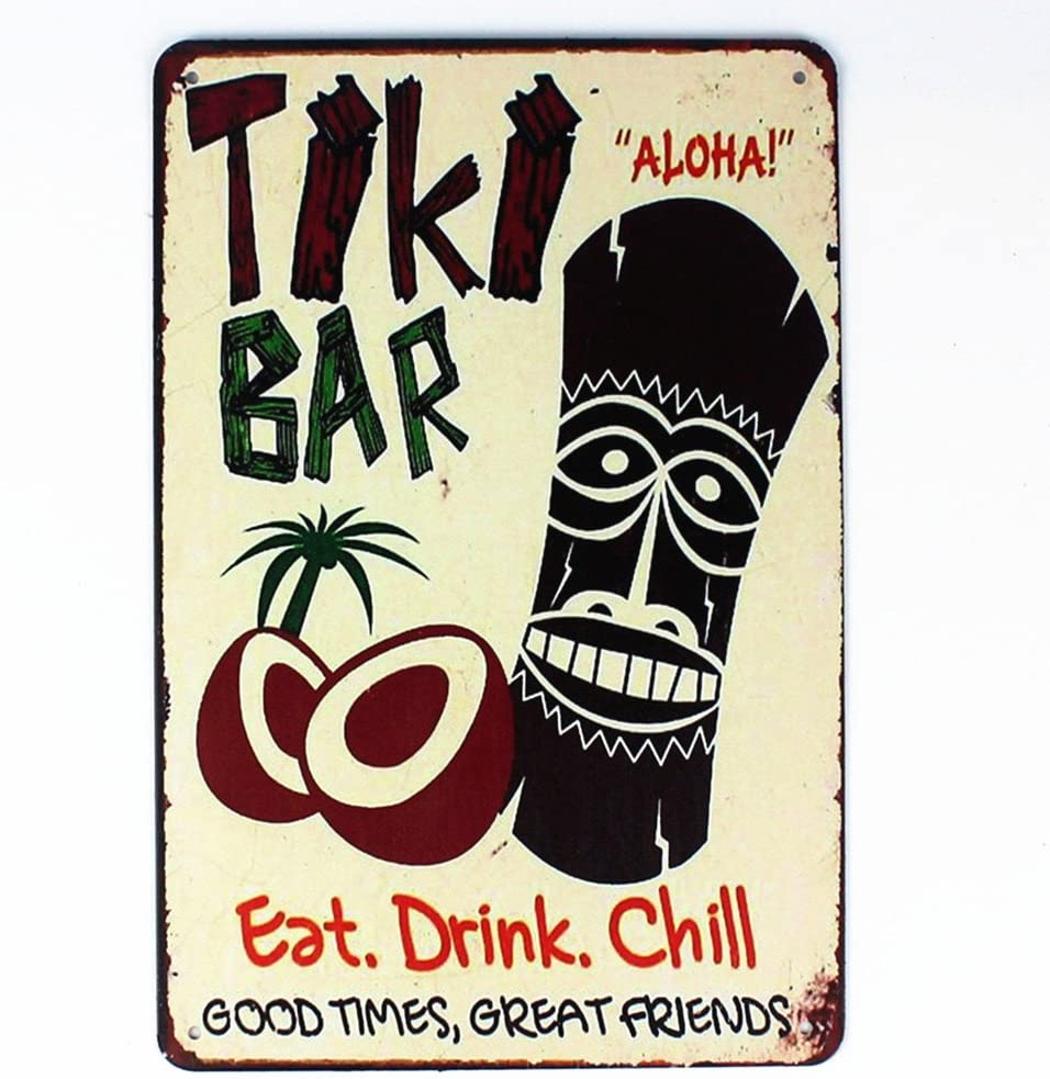 "Mega-Deal Tiki Bar Eat Drink Chill Tin Sign Metal Wall Plaque 12"" x 8"""