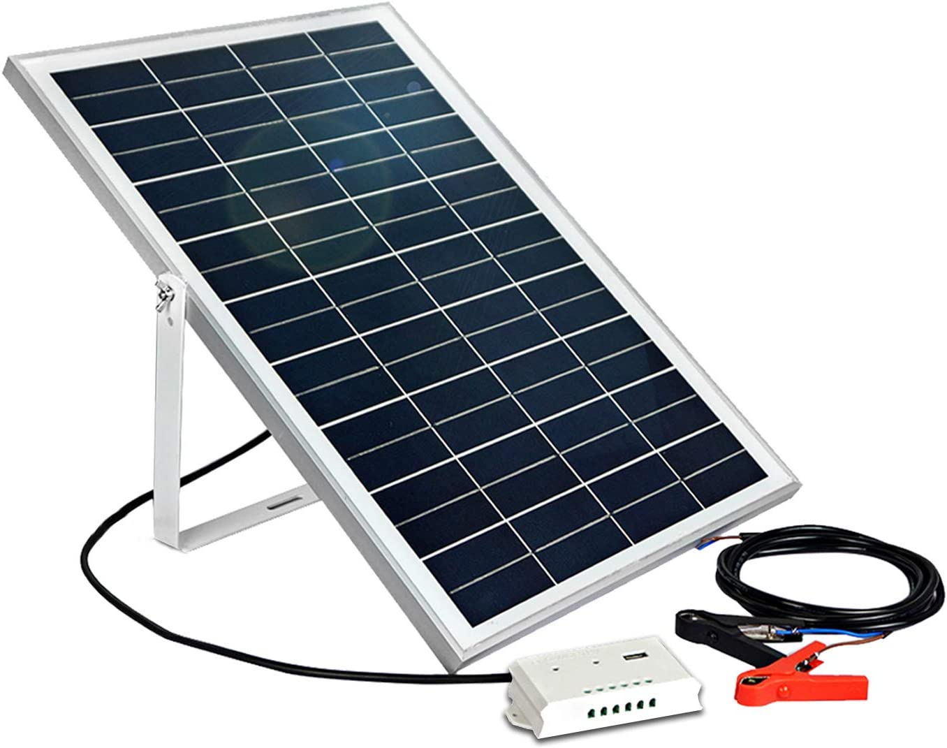 ECO-WORTHY 25W 12V Solar Panel Kit Portable Solar Panel Charge Controller with USB Port U Shaped Mount Bracket 30A Battery Clip for Car Battery Charging,Camper,RV,Boat,Yacht