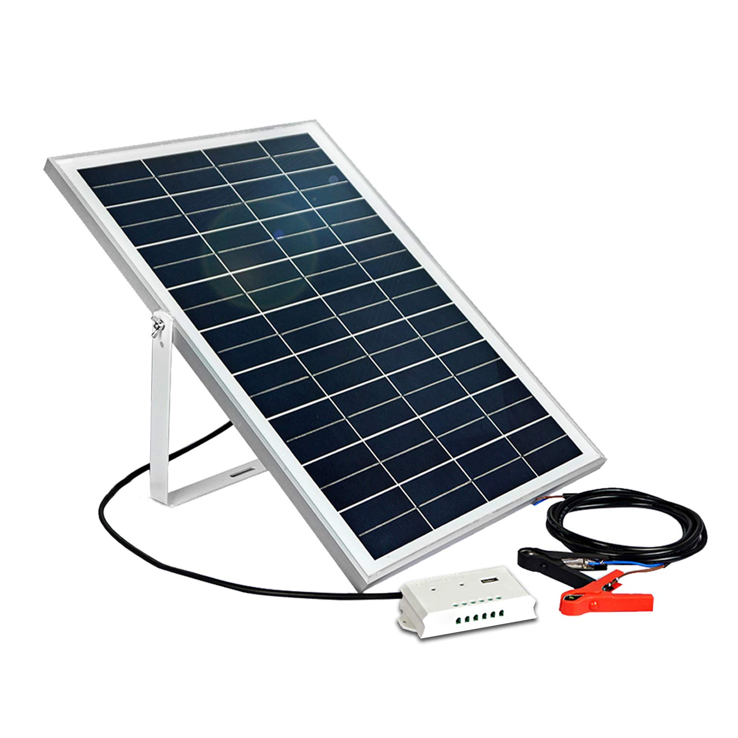 ECO-WORTHY 25W 12V Solar Panel Kit: Portable Solar Panel + Charge Controller with USB Port + U Shaped Mount Bracket + 30A Battery Clip for Car Battery Charging,Camper,RV,Boat,Yacht by ECO-WORTHY