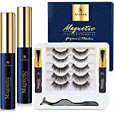 5 Pairs Reusable Magnetic Eyelashes and 2 Tubes of Magnetic Eyeliner Kit, Upgraded 3D Magnetic Eyelashes Kit With Tweezers In