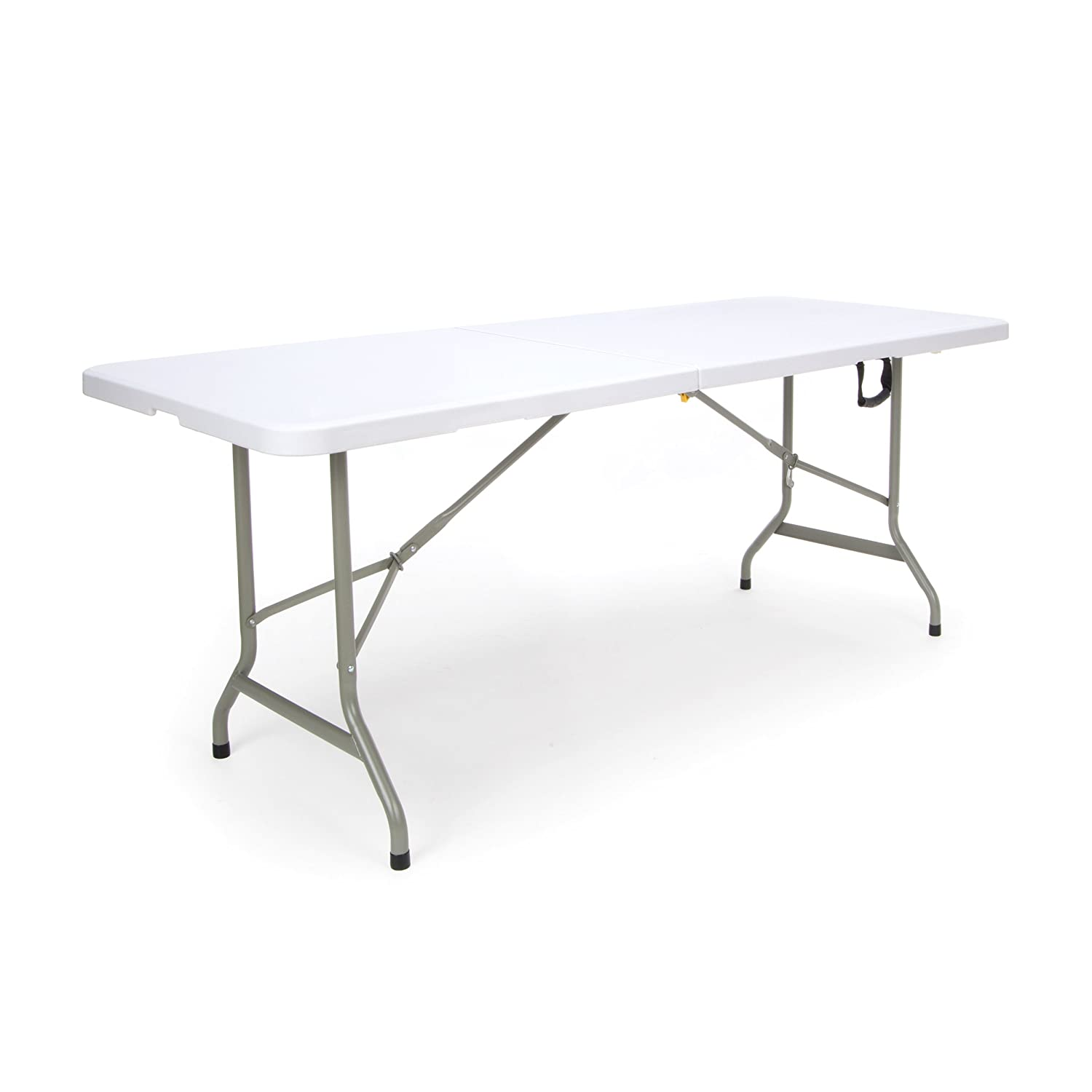 """Essentials Center Folding Multipurpose Utility Table - Sturdy Card/Conference/Office/Craft Plastic Table, 30"""" x 72"""", White"""