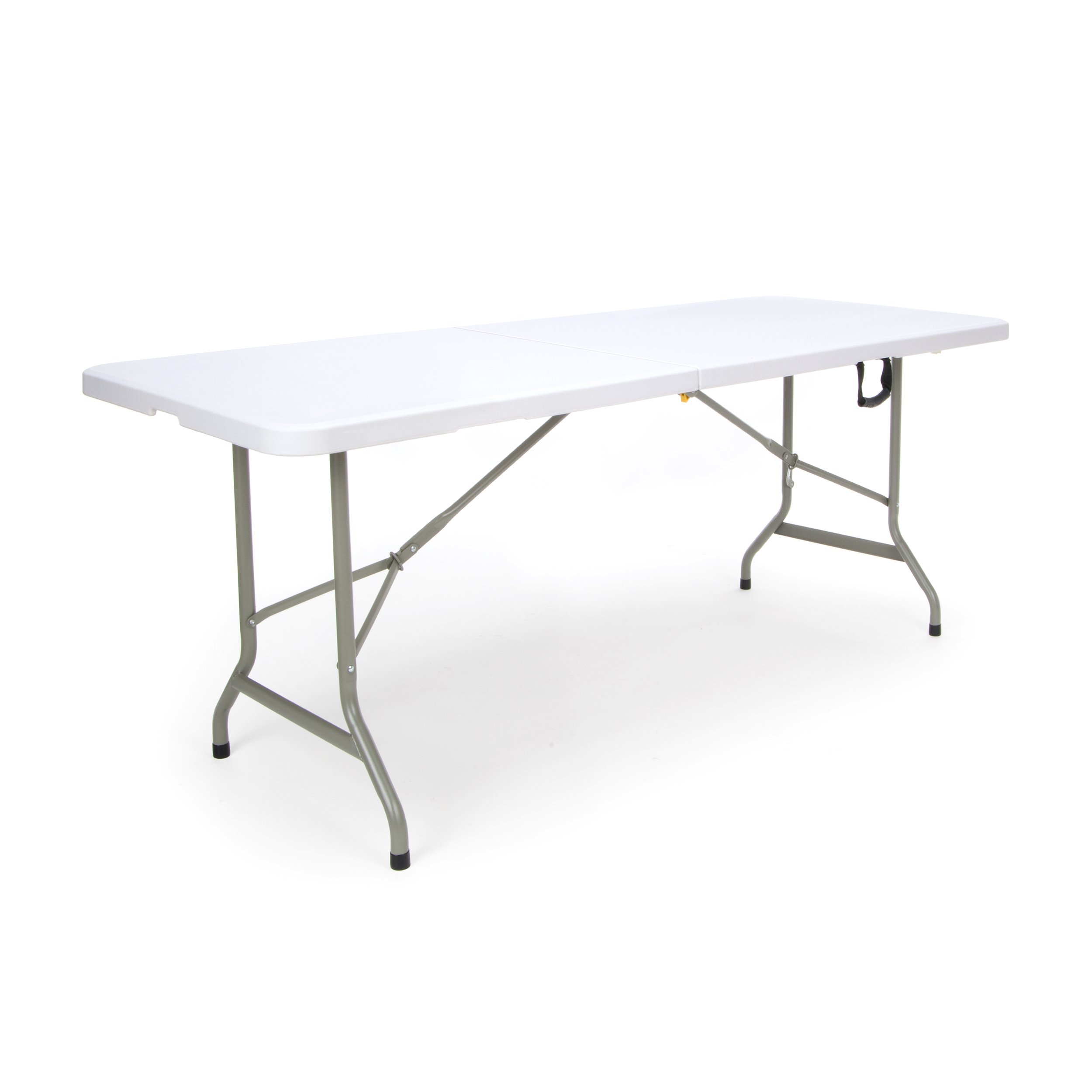 Essentials Center Folding Multipurpose Utility Table - Sturdy Card/Conference/Office/Craft Plastic Table, 30'' x 72'', White
