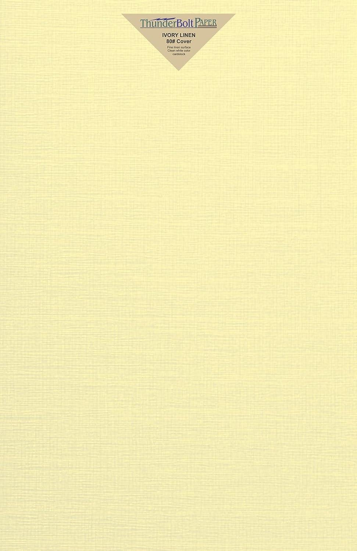 アイボリーリネン 80# カバーペーパーシート - 11インチ X 17インチ (11X17インチ) タブロイド | レッジャー | ブックレットサイズ - 80ポンド/ポンド カード重量 - 上質リネンテクスチャ仕上げ - 高品質カード用紙 B06XYTP25T