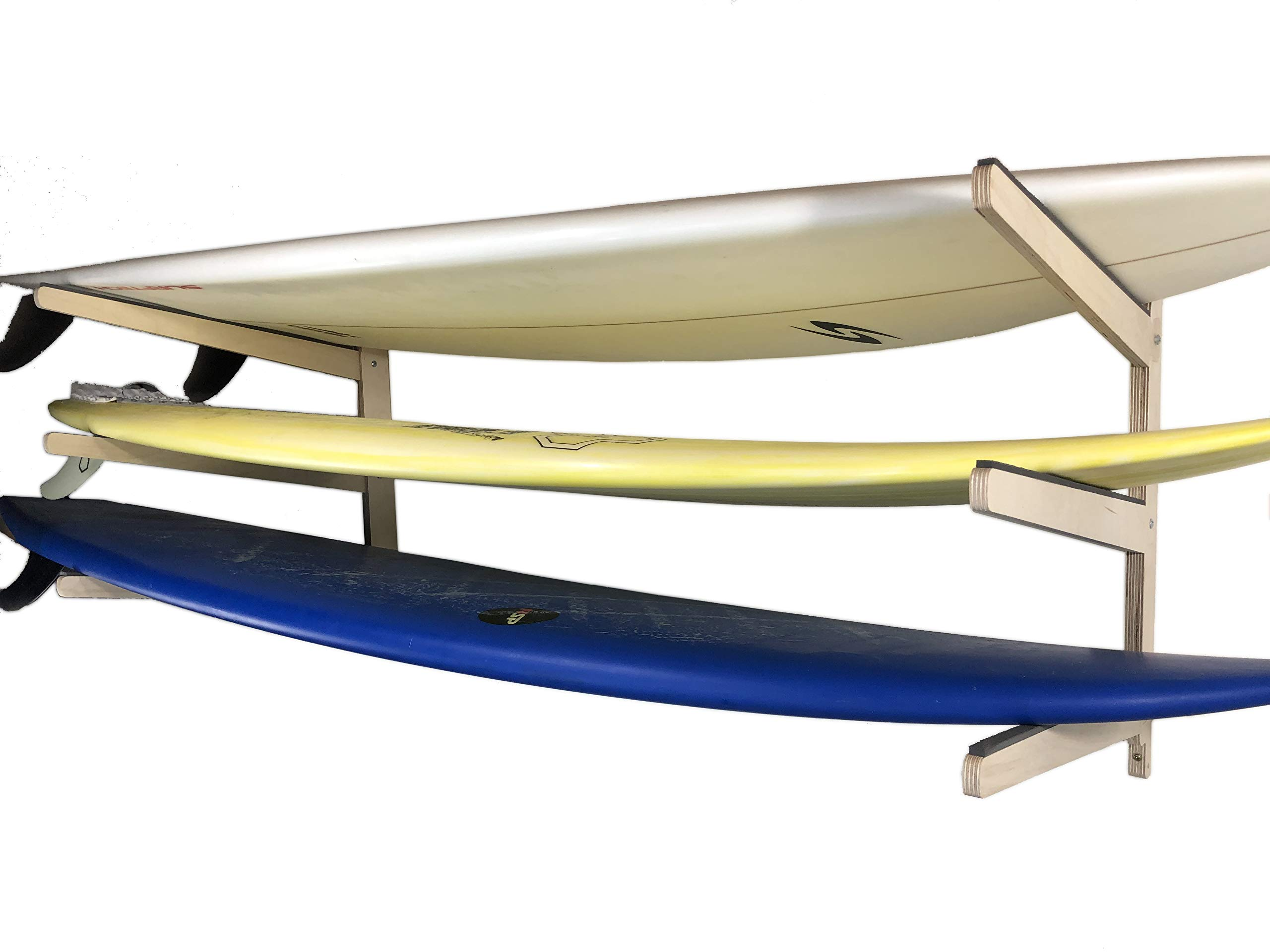 Steve's Rack Shack Premium Indoor/Outdoor Surfboard Storage Rack (Wall Mount; Holds Both Long and Short Boards; for use Indoors and Outdoors; Made in The USA) (3 Space) by Steve's Rack Shack