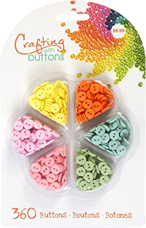Blumenthal Lansing , 360pc, Yellow, Orange, Blue, Green, Light Pink Assorted Craft and Sewing Buttons