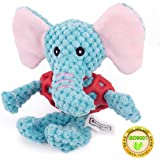 Dog Squeaky Chew Plush Toys,Indoor Playing Dental Cleaners for Pet,Elephant Giraffe Dog Shaped for Small to Medium Size Dogs,Safety Material,Easy to Carry