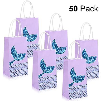 50 piezas de sirena patrón fiesta bolsas sirena bolsas de ...
