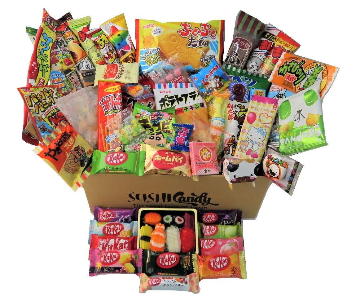 60 Japanese Candy & Snack 10 Sushi Candy Box Set Amezaiku Japanese 10 kit kat Assortment and 40 Other Popular Sweets
