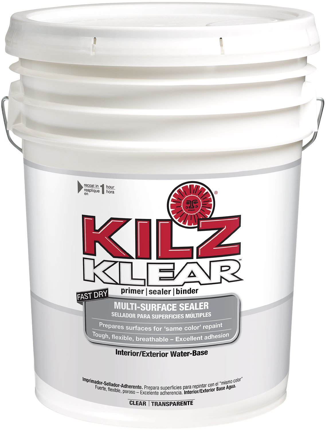KILZ Klear Multi-Surface Stain Blocking Interior/Exterior Latex Primer/Sealer, Clear, 5 gallon