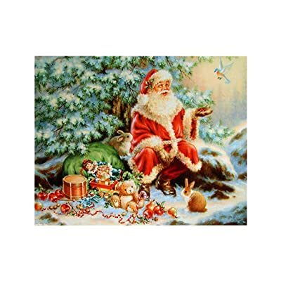 DIY 5D Diamond Painting by Number Kits, Acrylic Round Full Drill Cross Stitch Happy Merry Christmas Scene Print Arts Craft Canvas Supply for Home Office Wall Decor Santa Claus: Sports & Outdoors