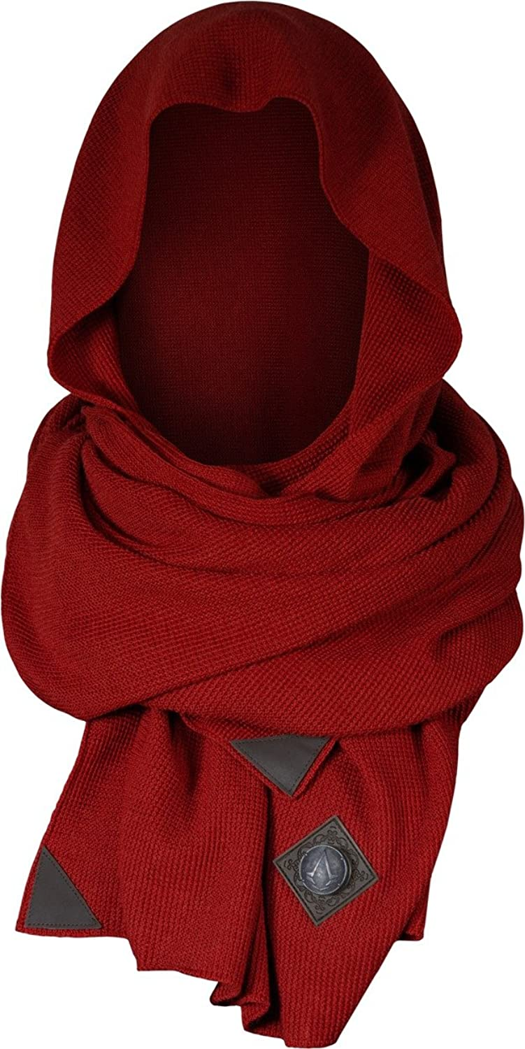 Deluxe Adult Costumes - Men's Assassin's Creed handsome red knit hood scarf with AC leather embellishments.