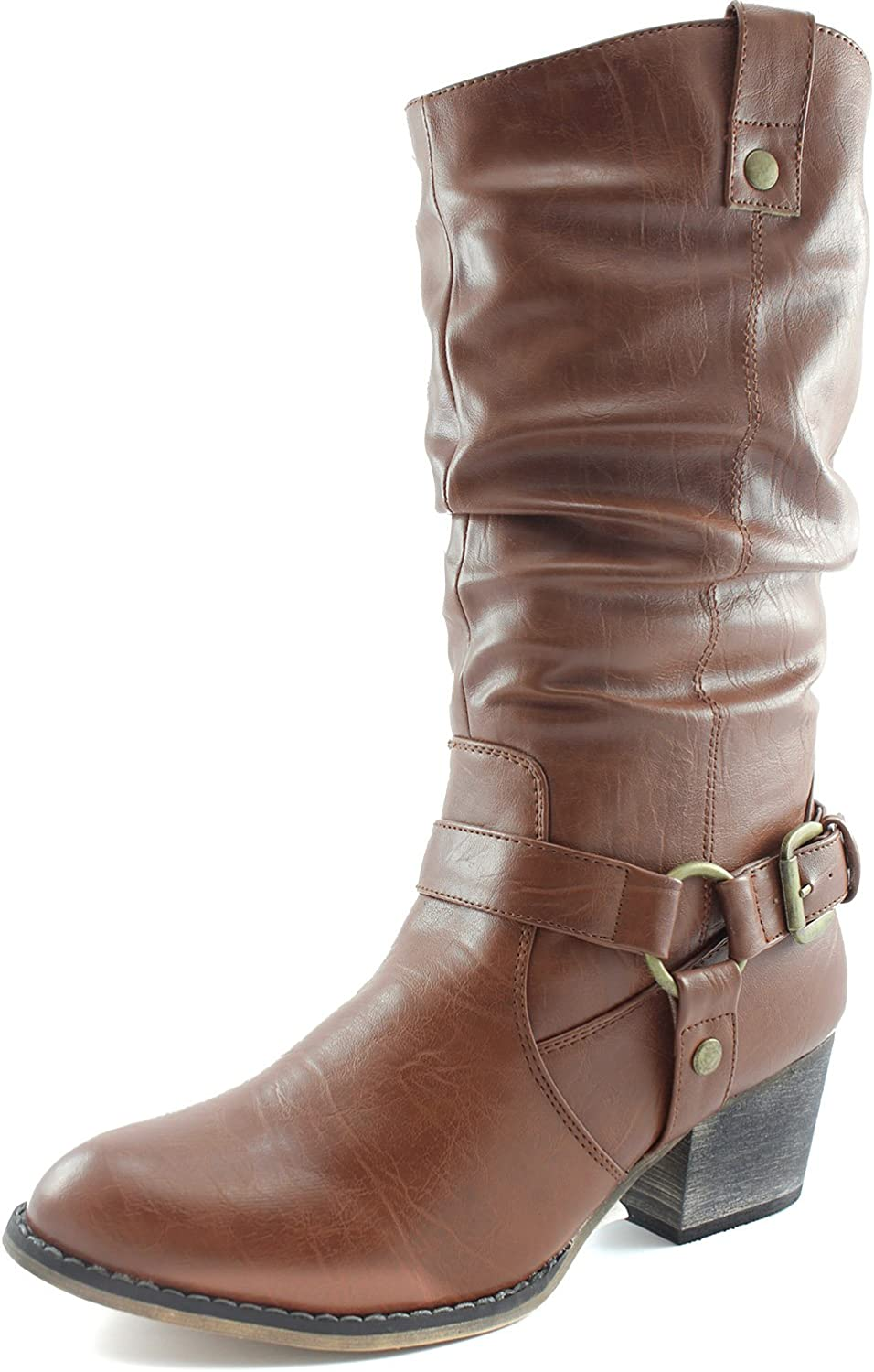 DailyShoes Women's Slouch Mid Calf Ankle Strap Buckle Western-01 Style Cowboy Boots