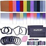 Kuman pour cameras DSLR(44 Items) lot complet de filtres carres 24pcs, kit compatible avec Cokin P series, avec support pour filtre, anneau adaptateur, protecteur d'objectif, accessoire nettoyage,KH01