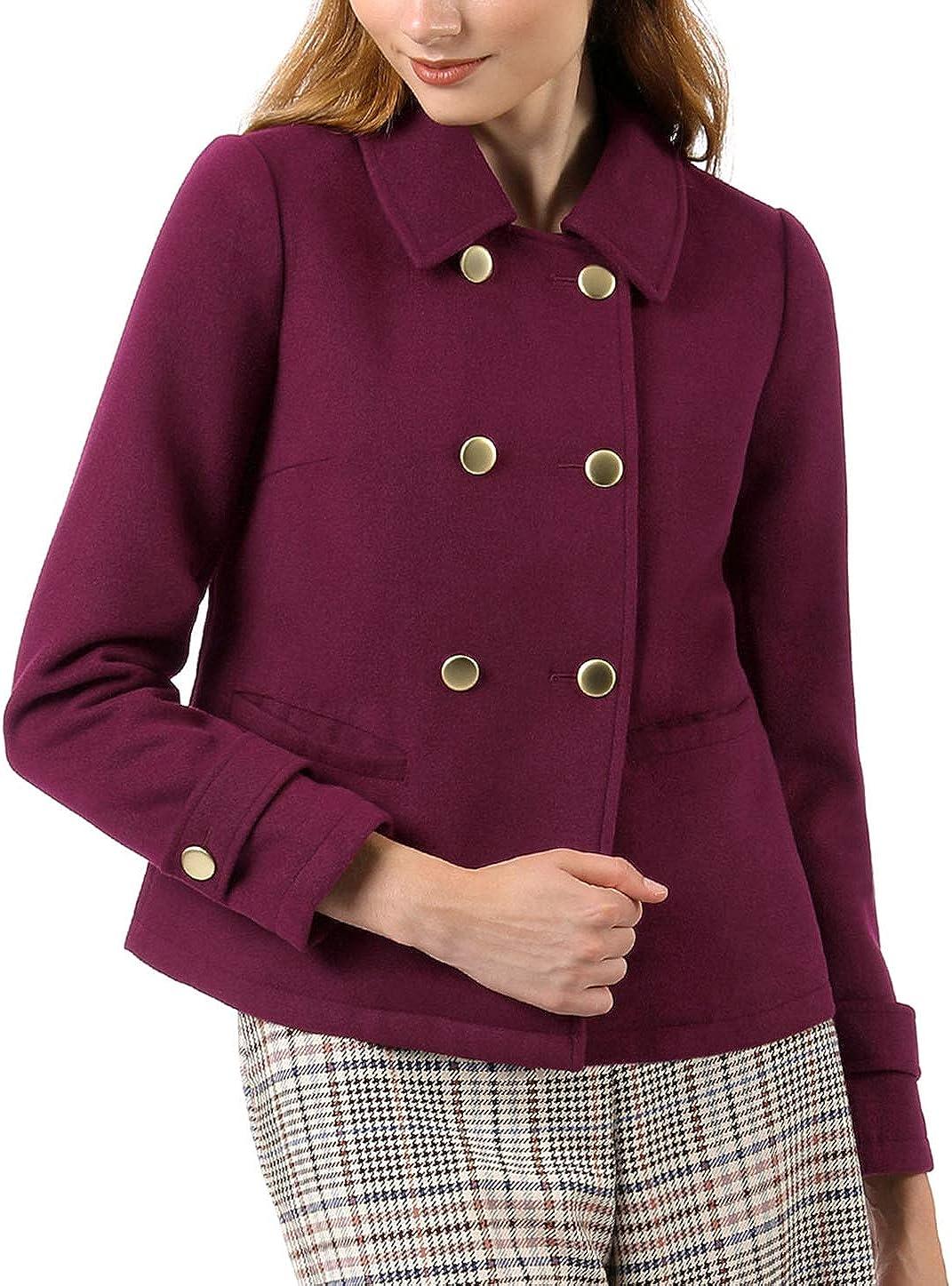 Allegra K Women's Long Sleeve Double Breasted Button Winter Outerwear Pea Coat