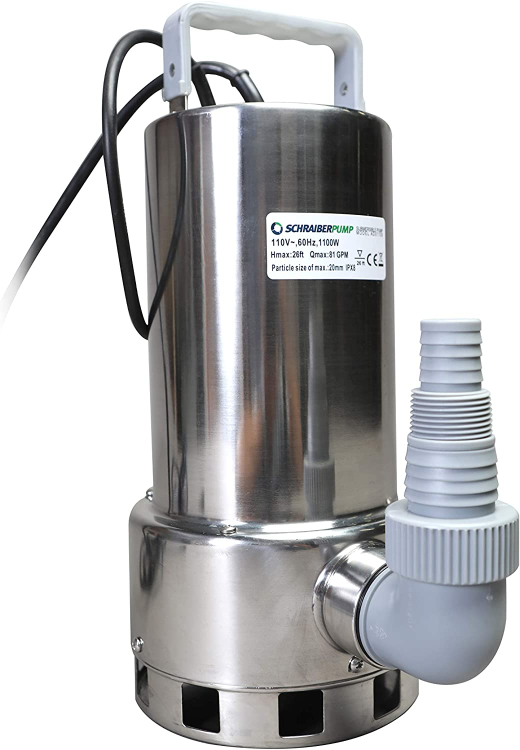 Submersible Clean/Dirty Water Sump Pump 1.5HP w/water level sensor (4 ON/OFF positions, no external float switch) 4860GPH, 26'Head, Thermal Protector, Stainless Steel, Copper Winding - Schraiberpump