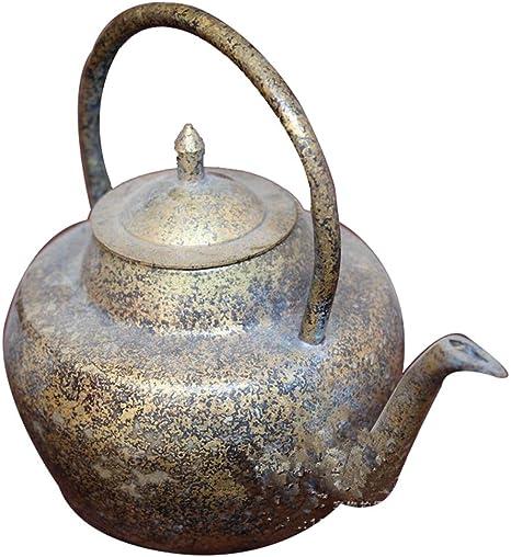 Colección de bronce de cobre tetera de artesanía antigua de la decoración del hogar Blanca níquel Hecho La olla vieja portátil: Amazon.es: Hogar