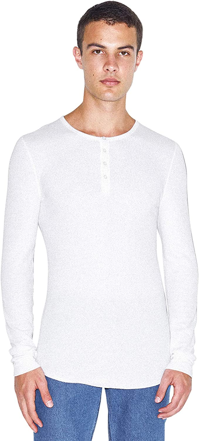 American Apparel Men Baby Thermal Henley Long Sleeve T-Shirt Size XS White