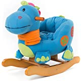 Labebe Baby Rocking Horse Wooden, Plush Rocking Horse Toy, Blue Dinosaur Rocking Horse for Baby 1-3 Years, Child Rocking Horse/Baby Rocker Bule/Child Rocker/Infant Rocking Horse/Nursery Rocking Horse
